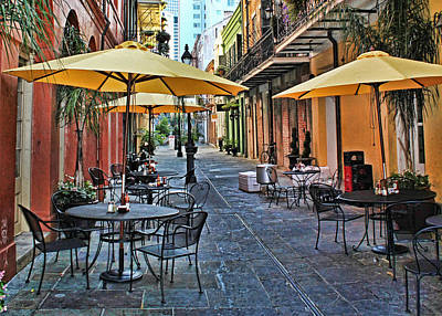 Patio Cafe In Nola Art Print by Judy Vincent