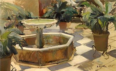 Patio Fountain In Seville Art Print