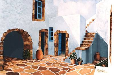 Architecture Painting - Patio In Patmos, Greece-prints From Original Oil Painting by Mary Grden Fine Art Oil Painter Baywood Gallery