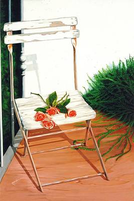 Painting - Patio Rose, Prints From Original Oil Paintings by Mary Grden Fine Art Oil Painter Baywood Gallery