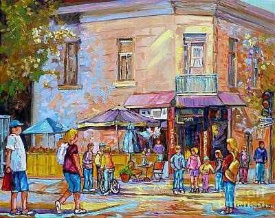 Patio Umbrellas Cafe Bistro Barros Paris Style Colorful Streetscene Painting Montreal 375  Original by Carole Spandau