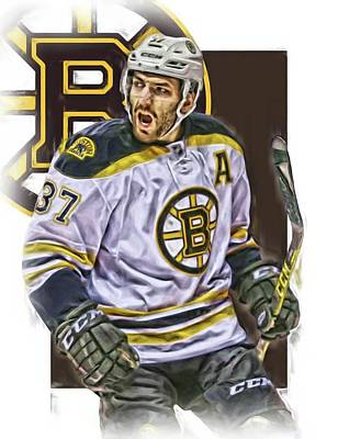 Boston Bruins Mixed Media - Patrice Bergeron Boston Bruins Oil Art 1 by Joe Hamilton