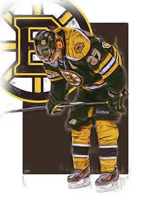 Boston Bruins Mixed Media - Patrice Bergeron Boston Bruins Oil Art 2 by Joe Hamilton