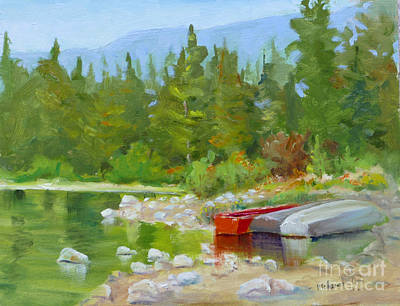 Canadian Sports Painting - Patricia Lake, Jasper by Mohamed Hirji