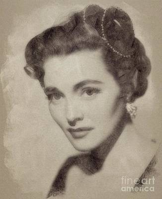 Musicians Drawings - Patricia Neal, Vintage Actress by John Springfield by Esoterica Art Agency