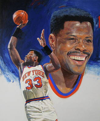 Basketball Abstract Painting - Patrick Ewing by Cliff Spohn