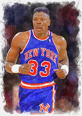 Athletes Royalty-Free and Rights-Managed Images - Patrick Ewing Paint by Ricky Barnard