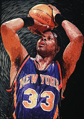 Knicks Digital Art - Patrick Ewing by Taylan Apukovska