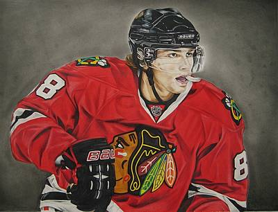 Colored Pencil Portrait Drawing - Patrick Kane by Brian Schuster