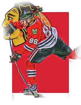 Mixed Media - Patrick Kane Chicago Blackhawks Oil Art Series 1 by Joe Hamilton