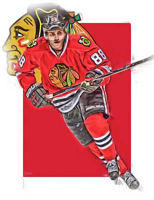 Patrick Kane Chicago Blackhawks Oil Art Series 3 Art Print by Joe Hamilton