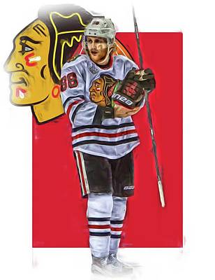 Mixed Media - Patrick Kane Chicago Blackhawks Oil Art Series 4 by Joe Hamilton