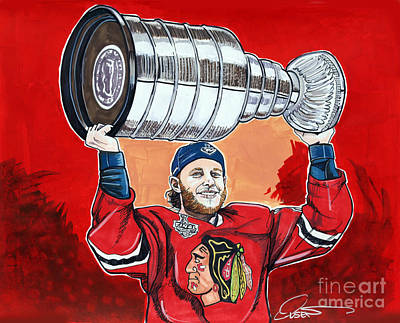 Nhl Hockey Drawing - Patrick Kane Stanley Cup Champion 2015 by Dave Olsen