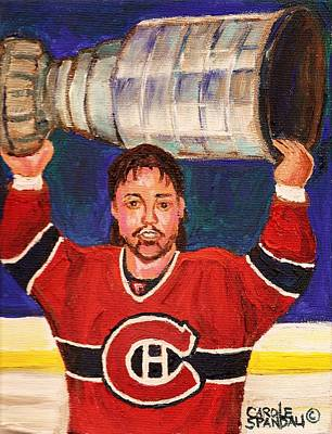 Painting - Patrick Roy Wins The Stanley Cup by Carole Spandau