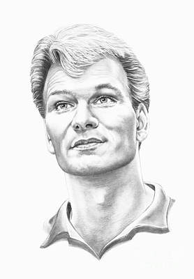 Famous People Drawing - Patrick Swayze by Murphy Elliott