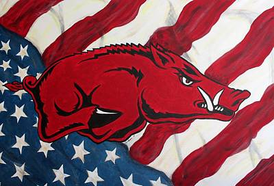 University Of Arkansas Wall Art - Painting - Patriot Hog by Nathan Grisham