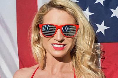 Photograph - Patriotic American Blonde by Amyn Nasser