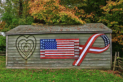 Photograph - Patriotic And Romantic Shed by Allen Beatty