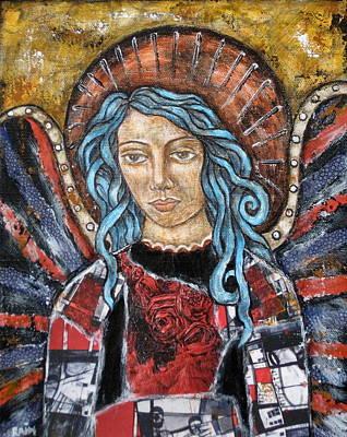 Christian Art . Devotional Art Painting - Patriotic Angel by Rain Ririn