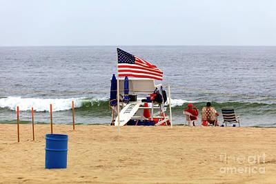 Photograph - Patriotic Asbury Park Beach by John Rizzuto