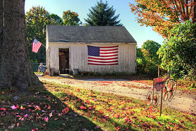 Photograph - Patriotic Barn With Flag In Autumn by Joann Vitali