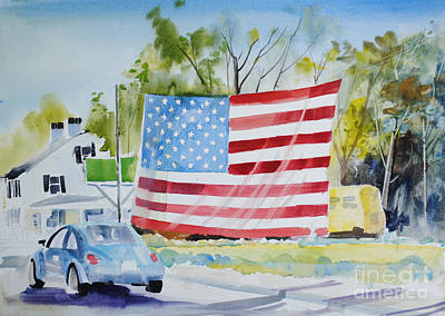 Landmarks Painting Royalty Free Images - Patriotic Beetle Royalty-Free Image by P Anthony Visco
