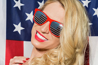 Photograph - Patriotic Blonde And American Flag by Amyn Nasser