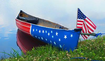 Photograph - Patriotic Canoe - 3 - 4th Of July by Nikolyn McDonald