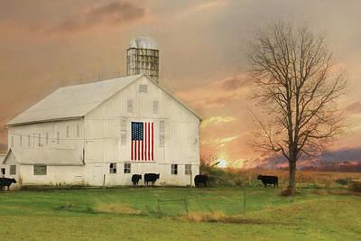 Farming Digital Art - Patriotic Cattle Farm by Lori Deiter