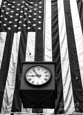 Photograph - Patriotic Clock Mono by John Rizzuto