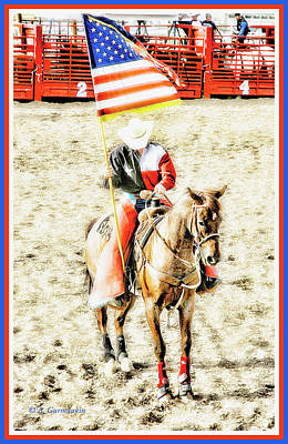 Digital Art - Patriotic Cowboy On Rodeo Horse by A Gurmankin