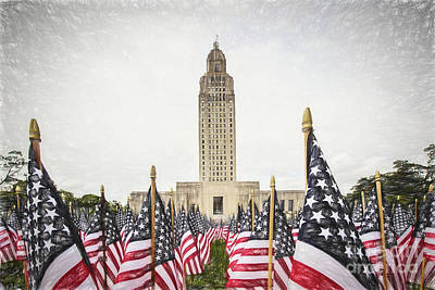 Patriotic Display At The Louisiana State Capitol Art Print