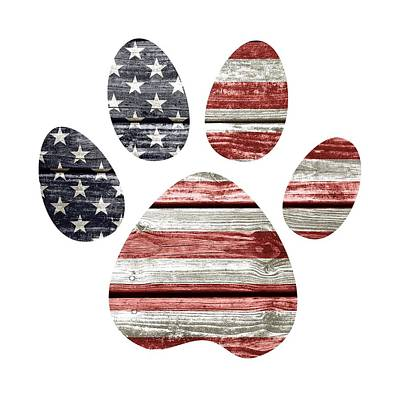 Pup Digital Art - Patriotic Dog Paw Print by Lisa Crisafi
