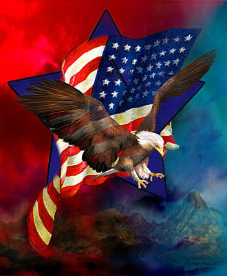 Mixed Media - Patriotic Eagle 1 by Carol Cavalaris