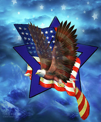 Mixed Media - Patriotic Eagle 2 by Carol Cavalaris