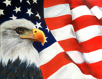 Mixed Media - Patriotic Eagle And Flag by Robert Korhonen