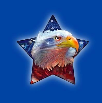 Mixed Media - Patriotic Eagle Star by Carol Cavalaris