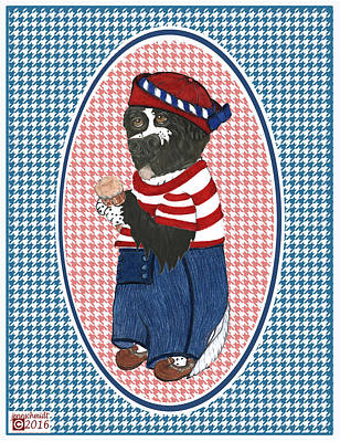 Patriotic Finny The Newf Art Print by Jenn Schmidt