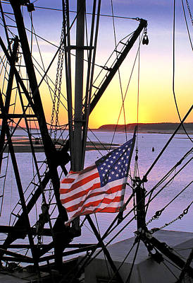 Dragger Photograph - Patriotic Fisherman by Charles Harden