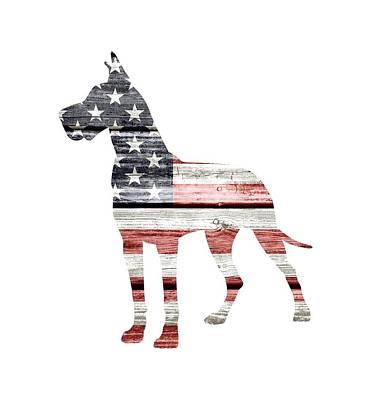 Great Dane Digital Art - Patriotic Great Dane by Lisa Crisafi