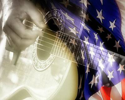 Photograph - Patriotic Guitar by Carolyn Marshall