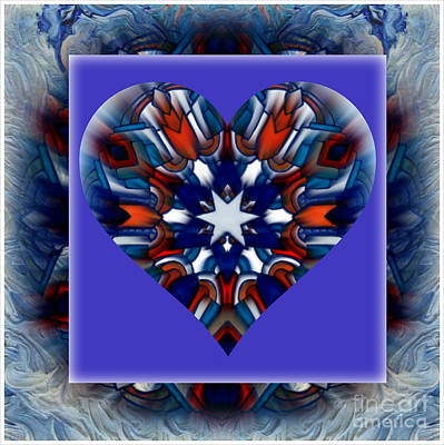 Montage Mixed Media - Patriotic Heart Montage by Wbk