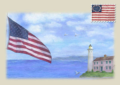 Painting - Patriotic Illustrated Lighthouse by Judith Cheng