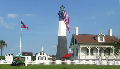 Patriotic Lighthouse Art Print by Juliana  Blessington
