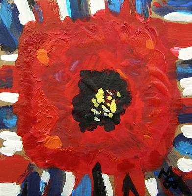 Patriotic Poppy Art Print by Mary Carol Williams