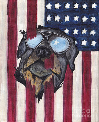 Old Glory Painting - Patriotic Pup by Robin Wiesneth