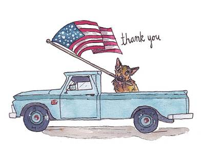 Fourth Of July Drawing - Patriotic Puppy Card by Katrina Davis