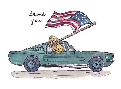 Fourth Of July Drawing - Patriotic Puppy Thank You Card by Katrina Davis