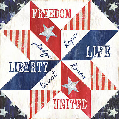 Democracy Painting - Patriotic Quilt 1 by Debbie DeWitt