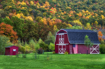Patriotic Red Barn Art Print